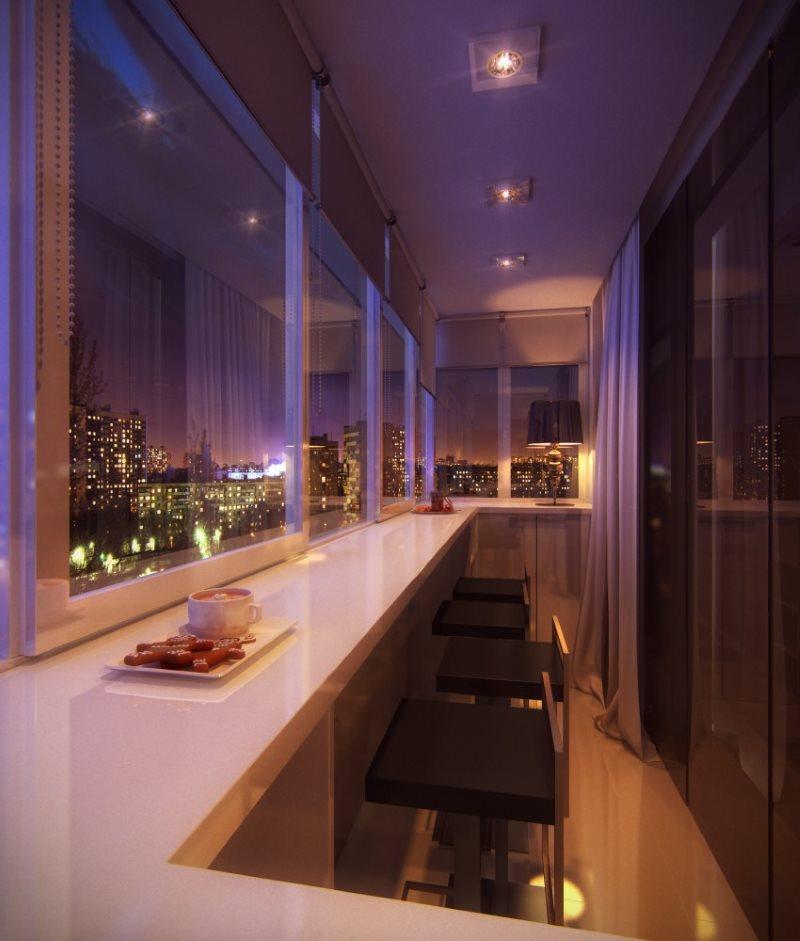 Освещение балкона с барной стойкой