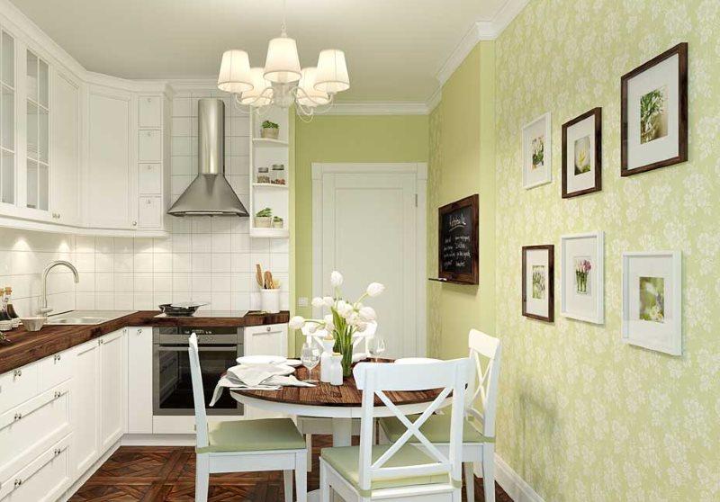 Люстра с плафонами из ткани над кухонным столом