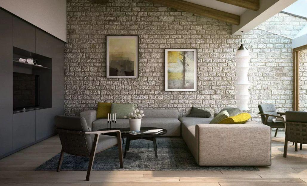 отделка квартиры под декоративный кирпич дизайн