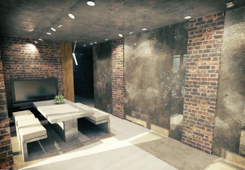 отделка квартиры под декоративный кирпич интерьер