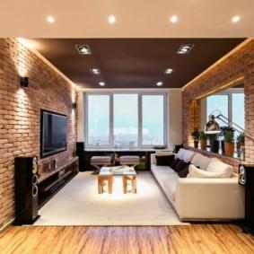 отделка квартиры под декоративный кирпич фото интерьера