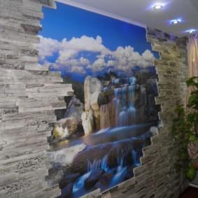 отделка стен декоративным камнем фото интерьера