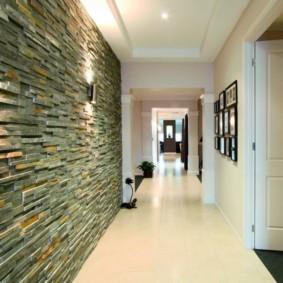 отделка стен декоративным камнем интерьер