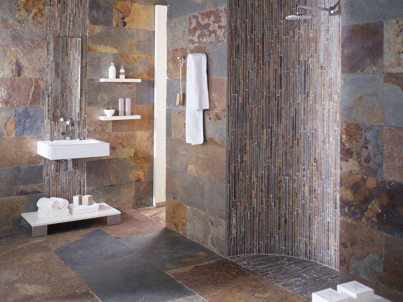 отделка стен камнем в ванной комнате
