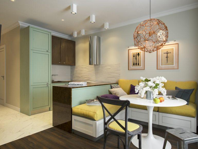 Дизайн кухни-гостиной 12 кв метров с диваном