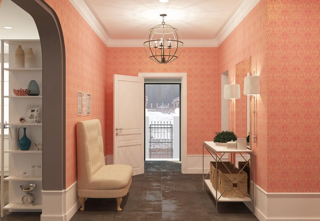 Открытая дверь в прихожей с персиковыми стенами
