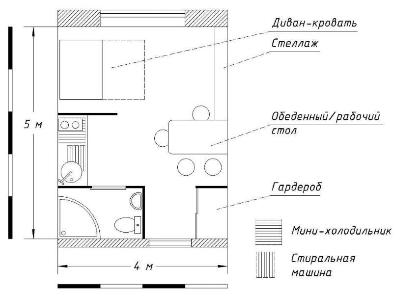План-схема квартиры студии 20 кв метров