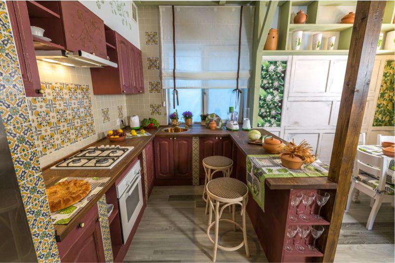 П-образное размещение рабочей зоны кухни