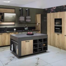плитка для кухни на пол интерьер