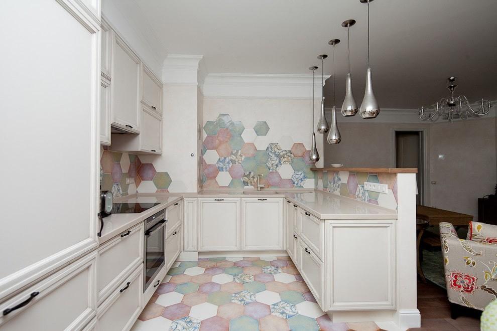 плитка для кухни на пол интерьер фото