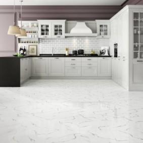 плитка для кухни на пол виды интерьера
