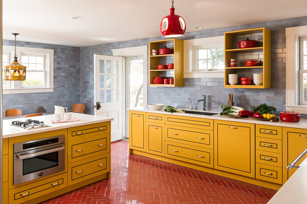 плитка для кухни на пол фото интерьера