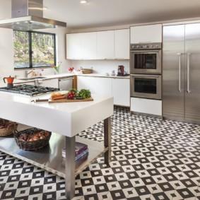 плитка для кухни на пол идеи фото