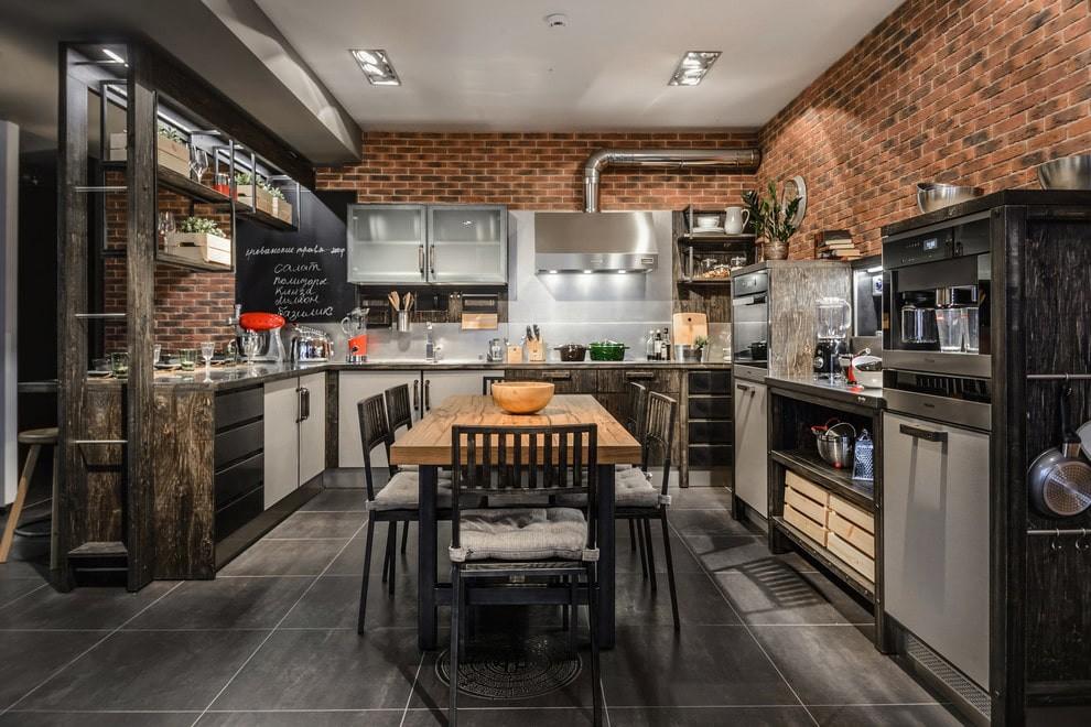 плитка для кухни на пол интерьер идеи