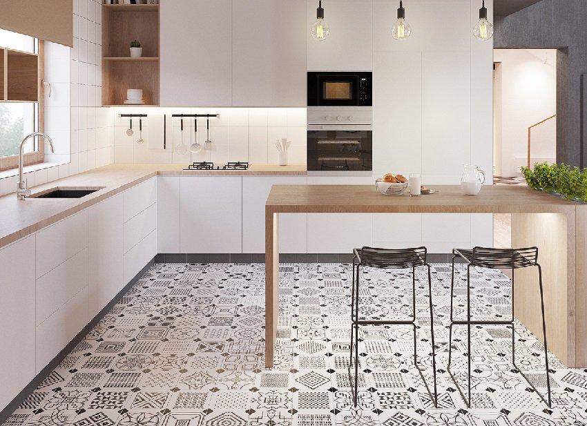 плитка для кухни на пол варианты идеи