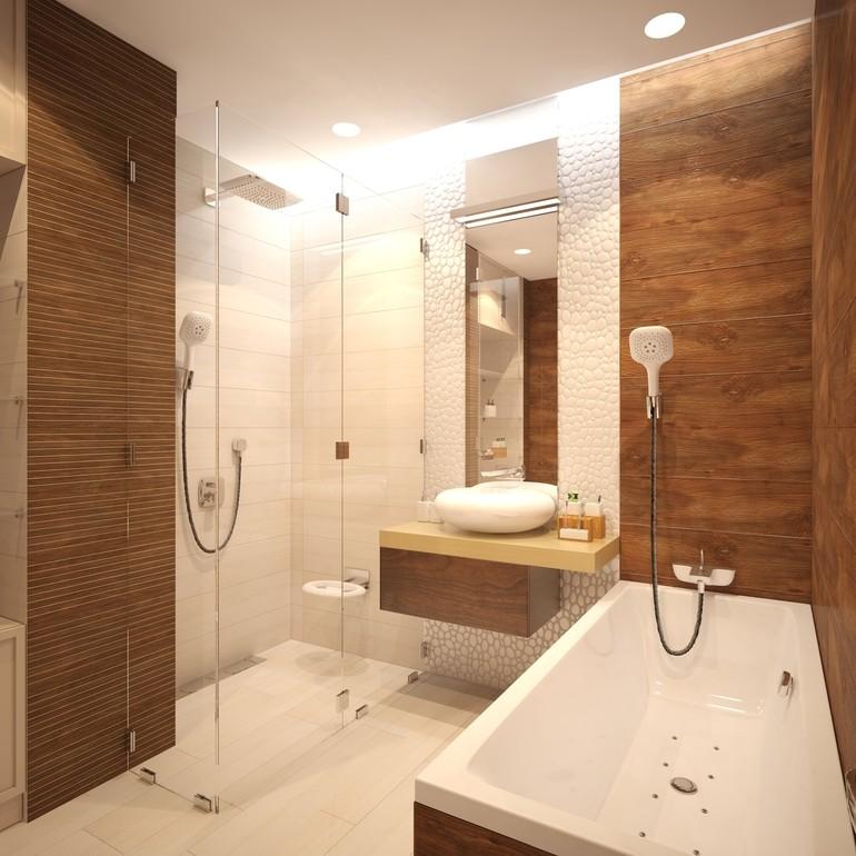 Белая раковина на подвесной тумбе в ванной с душем