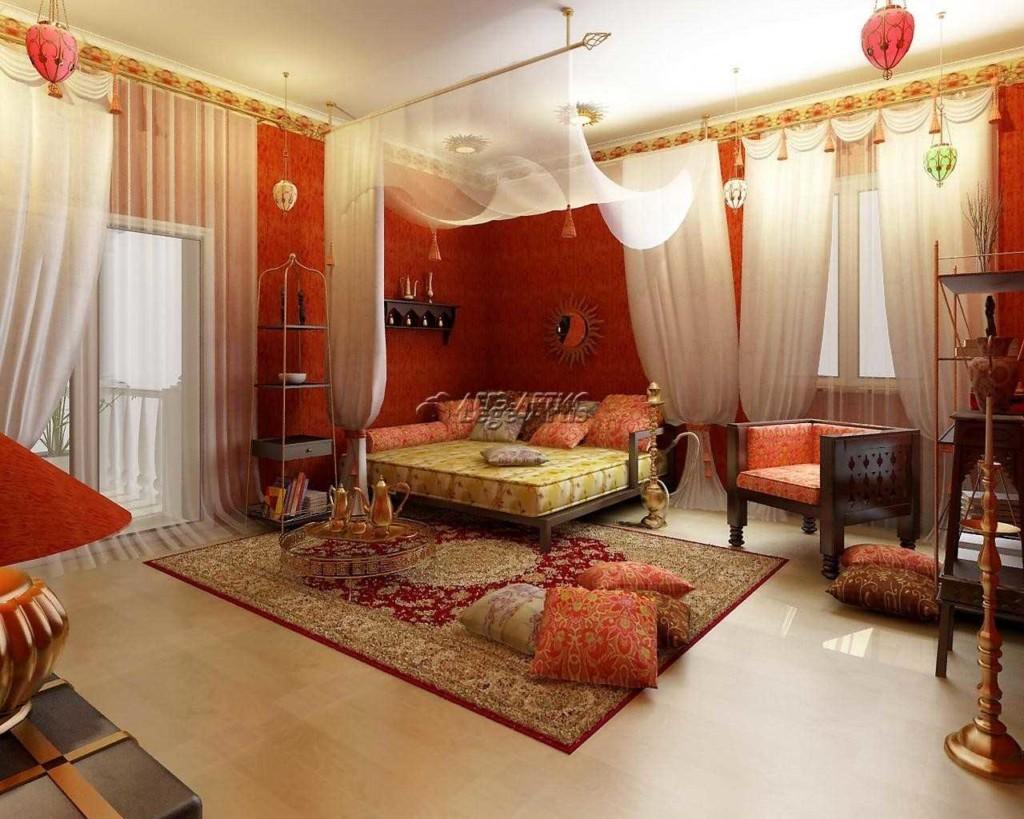 Подушки на персидском ковре в спальне