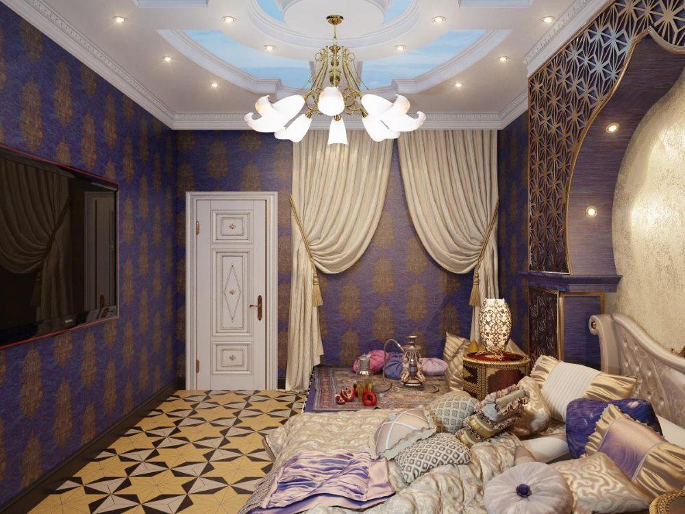 Дизайн спальни городской квартиры в стиле Востока