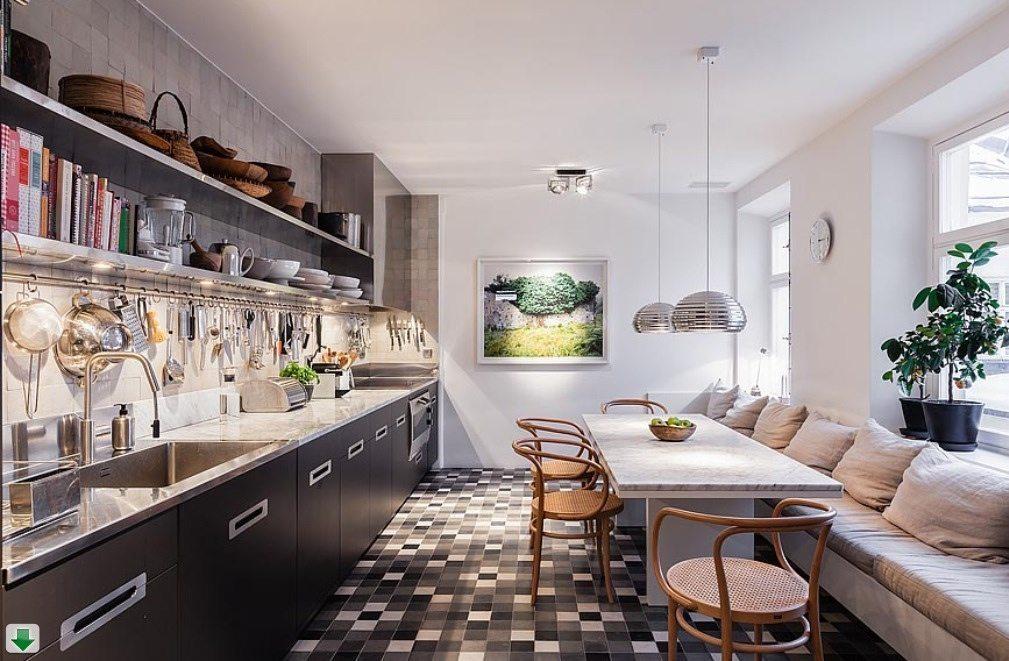 полки на кухне вместо навесных шкафов фото декора