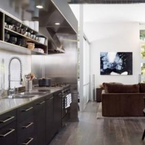 полки на кухне вместо навесных шкафов фото дизайн