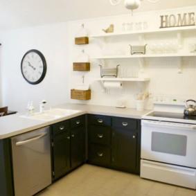 полки на кухне вместо навесных шкафов идеи дизайн