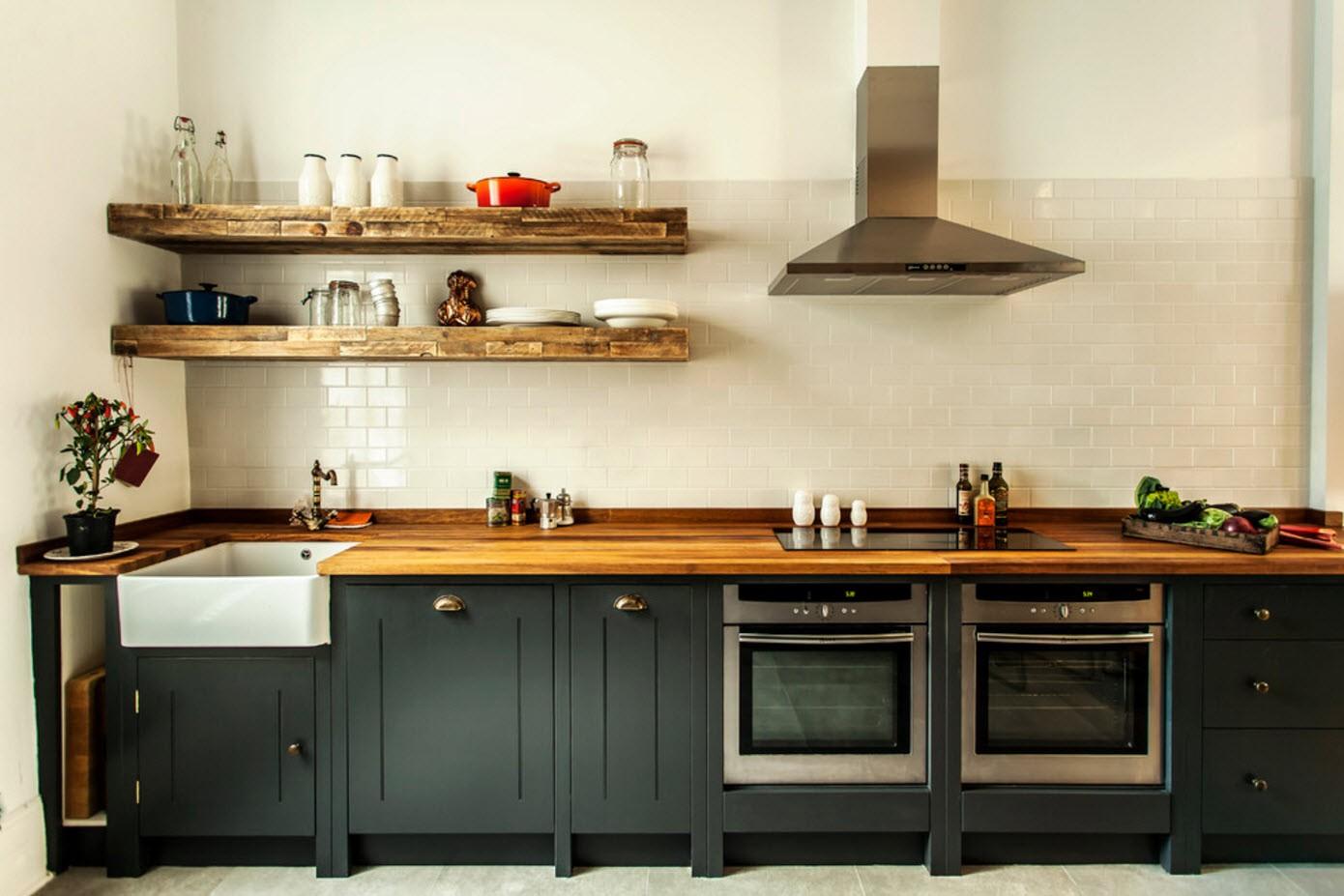 полки на кухне вместо навесных шкафов