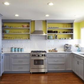 полки на кухне вместо навесных шкафов дизайн фото