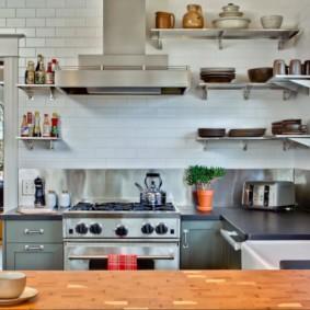 полки на кухне вместо навесных шкафов фото интерьер