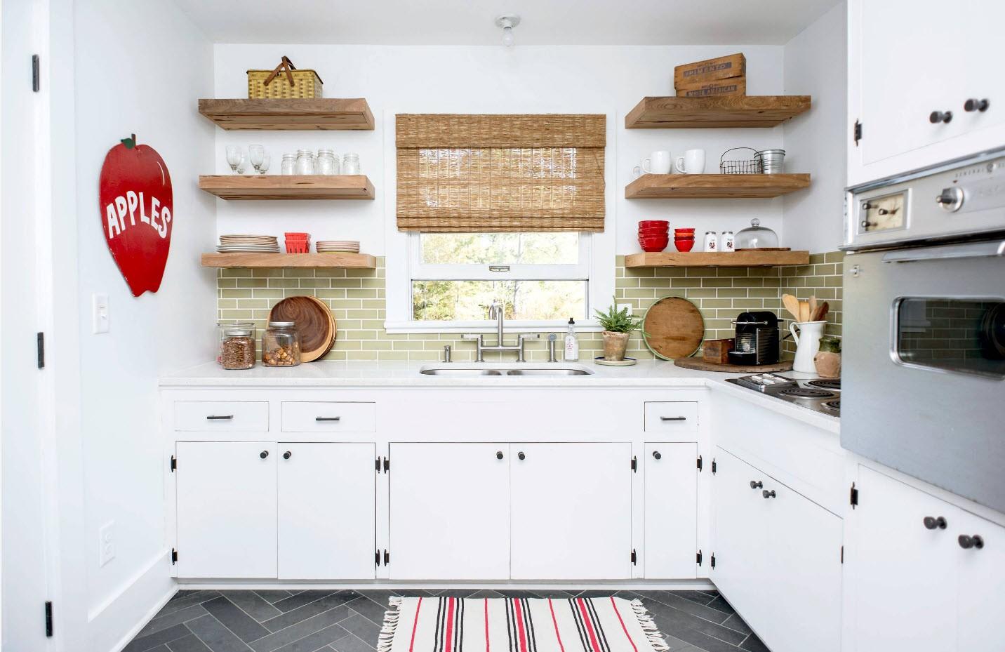 полки на кухне вместо навесных шкафов фото оформление
