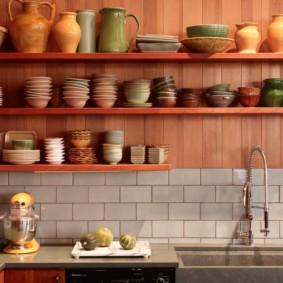 полки на кухне вместо навесных шкафов фото оформления