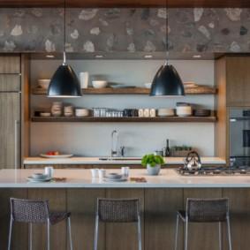 полки на кухне вместо навесных шкафов фото виды