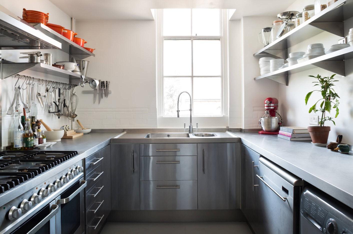 полки на кухне вместо навесных шкафов идеи интерьера