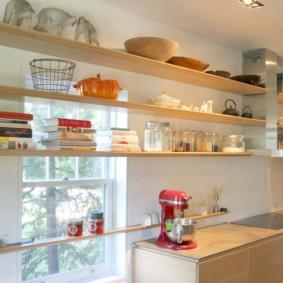 полки на кухне вместо навесных шкафов идеи вариантов