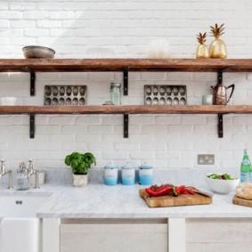 полки на кухне вместо навесных шкафов идеи варианты