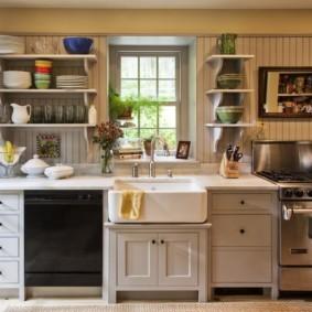 полки на кухне вместо навесных шкафов идеи видов