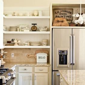 полки на кухне вместо навесных шкафов идеи виды