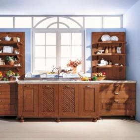 полки на кухне вместо навесных шкафов оформление фото