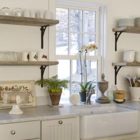 полки на кухне вместо навесных шкафов в интерьере