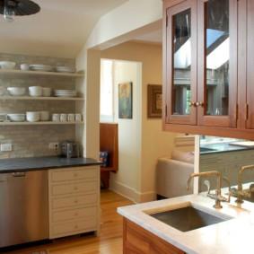 полки на кухне вместо навесных шкафов варианты фото