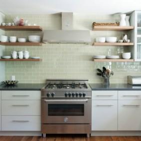 полки на кухне вместо навесных шкафов виды идеи