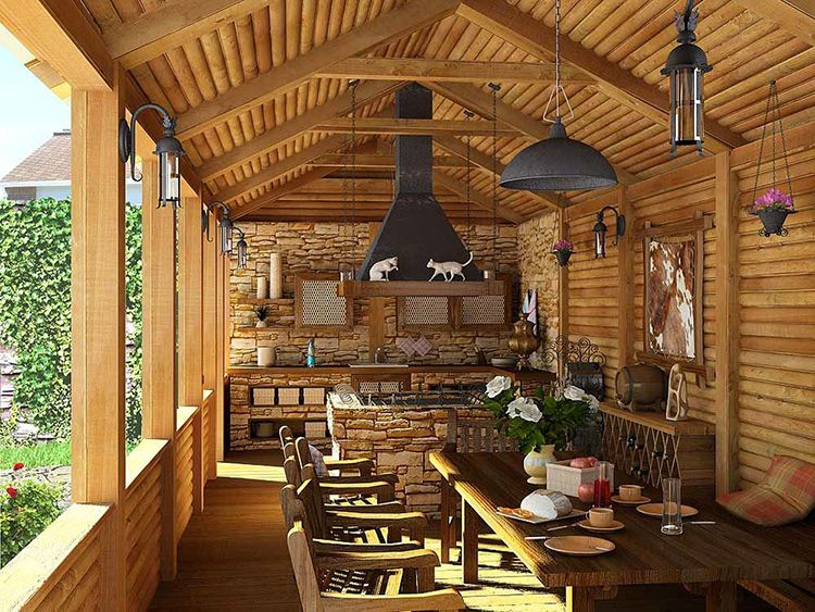 Интерьер летней кухни открытого типа