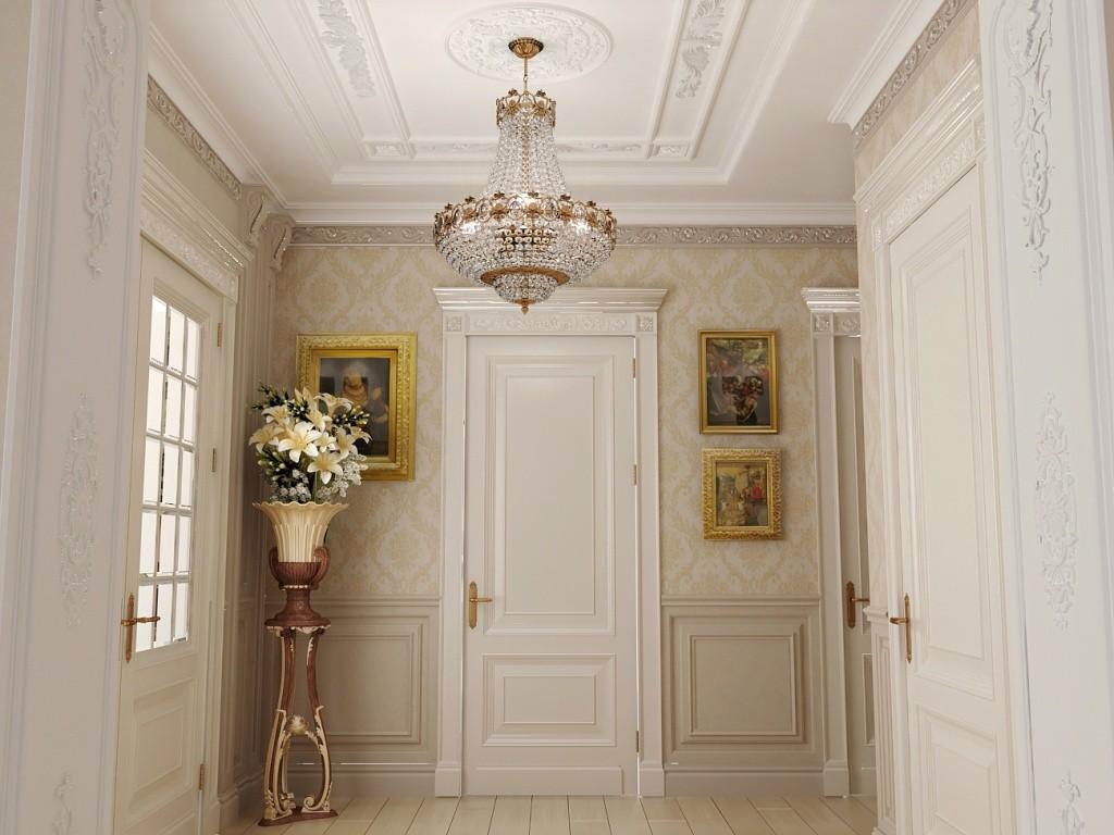 потолочная люстра в прихожей фото декора