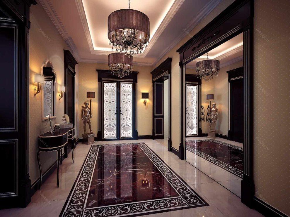 Керамическое панно на полу прихожей в стиле арт деко