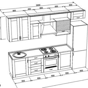 Проект линейного кухонного гарнитура