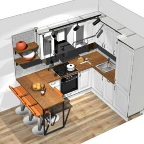 Проект П-образной кухни в хрущевке