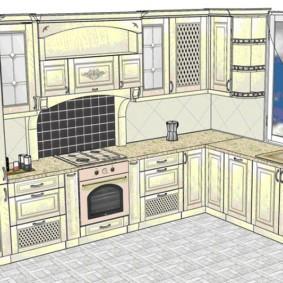 Проект угловой кухни с окном