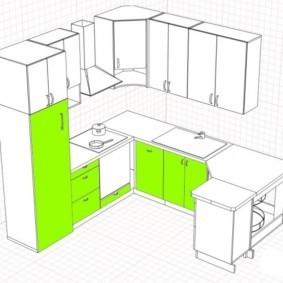 План кухни с угловым гарнитуром