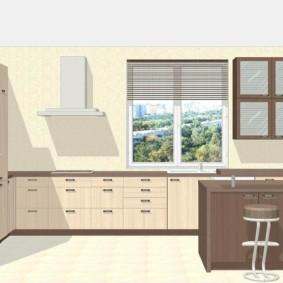 Дизайн-проект кухни с окном и островом