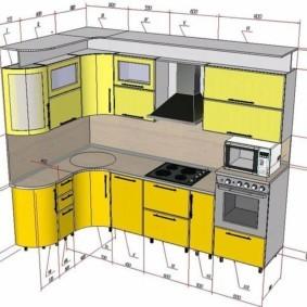 Размеру углового гарнитура для кухни в панельном доме