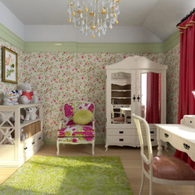 Красные шторы в детской комнате для девочки